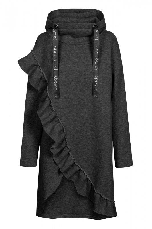 Bawełniana sukienka/bluza z falbaną LN119 - Grafit - 7