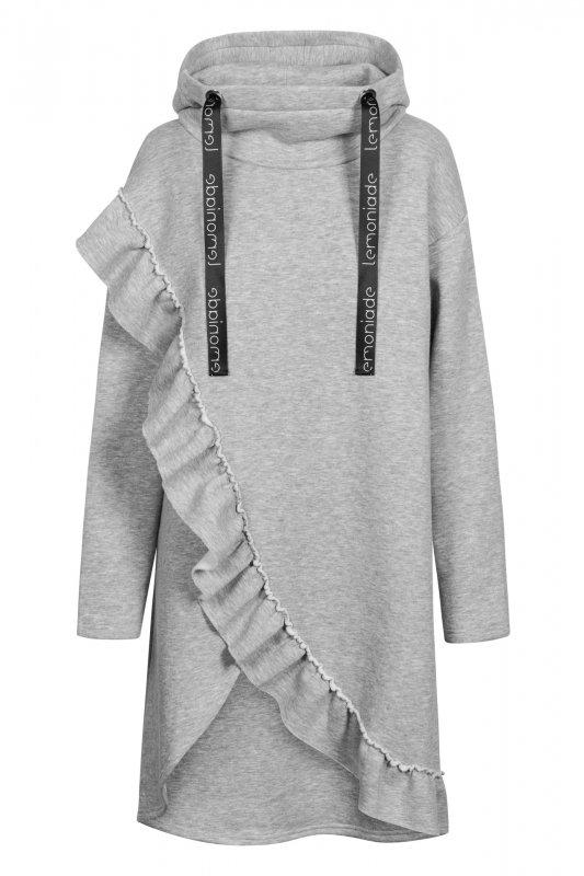 Bawełniana sukienka/bluza z falbaną LN119 - Jasnoszary - 2