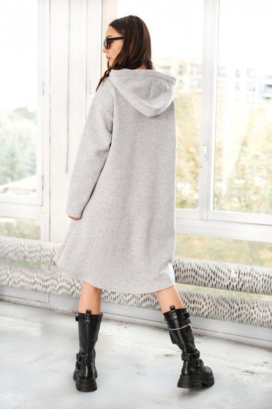Bawełniana sukienka/bluza z falbaną LN119 - Jasnoszary - 9