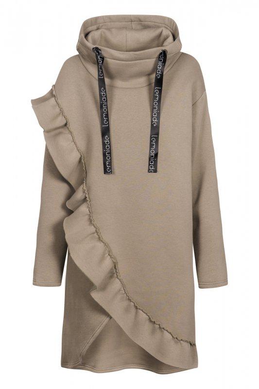 Bawełniana sukienka/bluza z falbaną LN119 - capucino - 2
