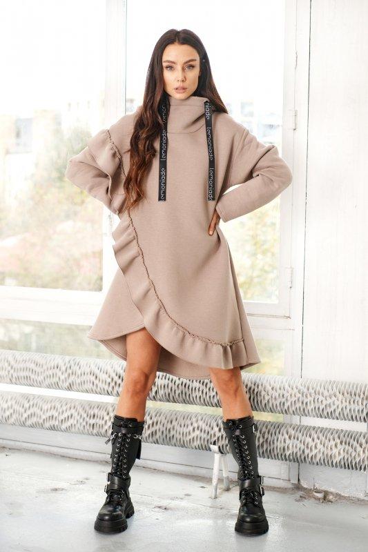 Bawełniana sukienka/bluza z falbaną LN119 - capucino - 5