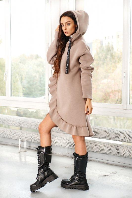 Bawełniana sukienka/bluza z falbaną LN119 - capucino - 10
