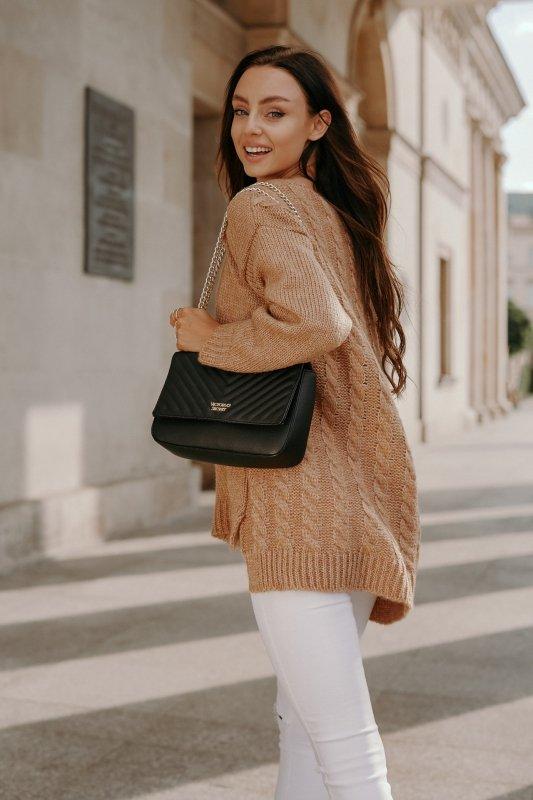 Sweter z guzikami i dłuższym tyłem - LS307- kamel -7