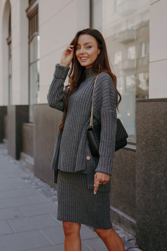 Komplet swetrowy – spódnica i sweter z golfem - grafit - 8