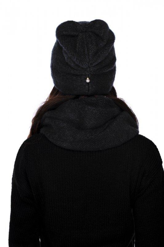 Basicowy komplet czapka z perełką i komin LC141 - czarny - 3