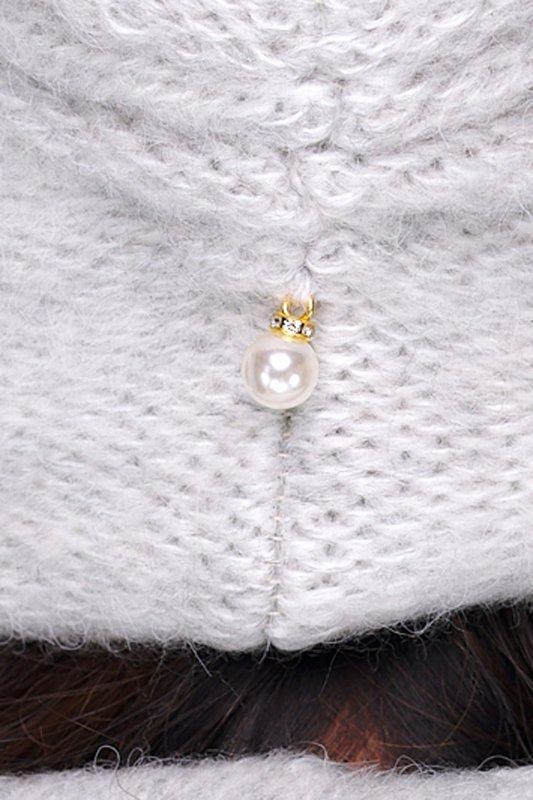 Basicowy komplet czapka z perełką i komin LC141 - jasnoszary - 3