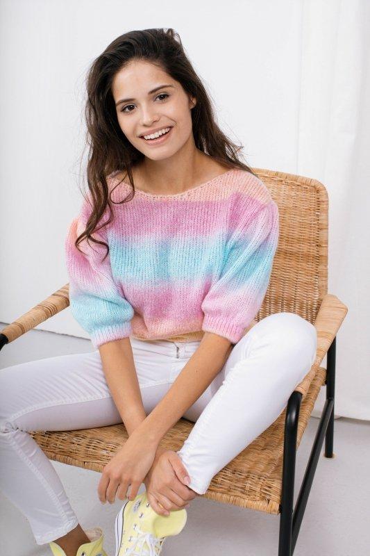Pastelowy Sweter Tęcza - LS336 - 2