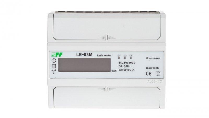 F&F Licznik energii elektrycznej 3-fazowy 100A jednotaryfowy 230/400V z wyświetlaczem LCD LE-03M