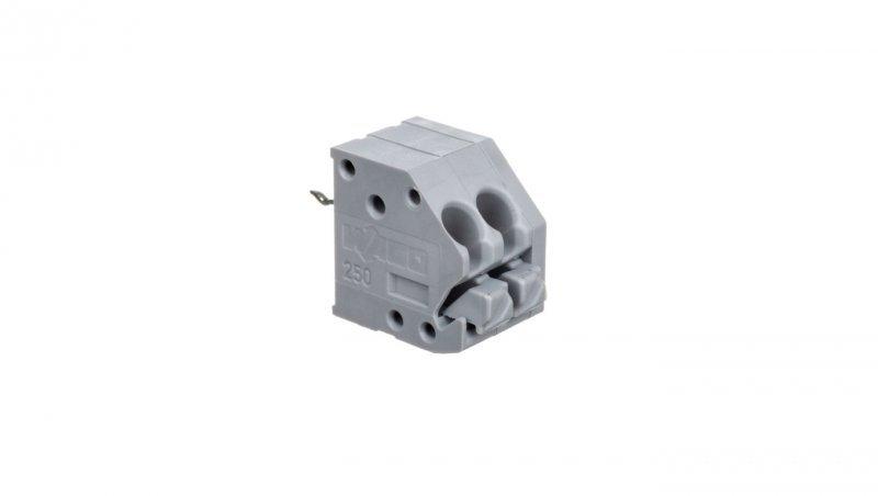 Listwa zaciskowa do płytek drukowanych 2-torowa 1 pin/biegun z przyciskami i otworem pomiarowym do 1,3mm szara 250-102