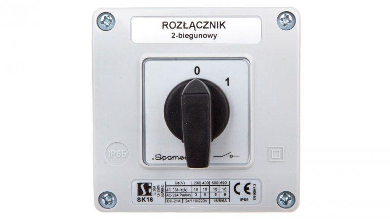 Łącznik krzywkowy 0-1 2P 16A w obudowie SK16-1.828OB11