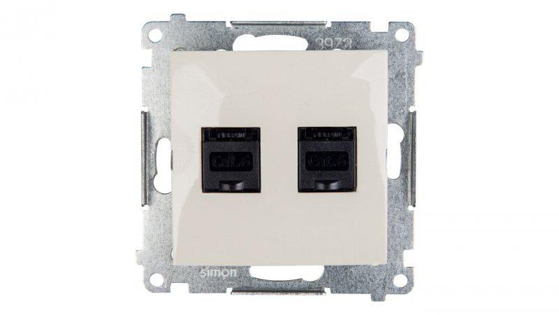 Simon 54 Gniazdo komputerowe podwójne 2xRJ45 kat.6 z przesłoną kremowe D62.01/41