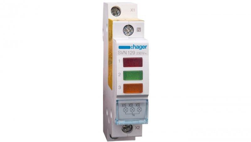 HAGER Lampka modułowa 3-fazowa czerwony/zielony/pomarańczowy 230-400V AC SVN129