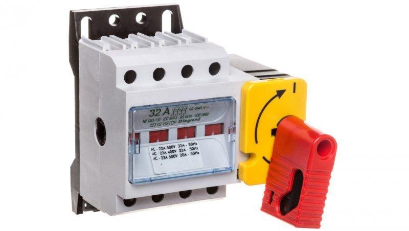 Rozłącznik izolacyjny 4P 32A VISTOP /napęd frontowy czerwony/ 022302