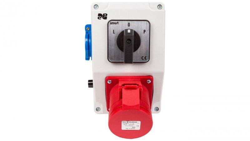 Zestaw instalacyjny z gniazdem 32A 4P+2P+Z RS-Z (L-0-P) czerwony 6281-20