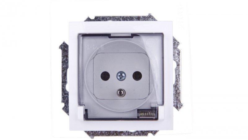 Simon 15 Gniazdo bryzgoszczelne z/u IP44 z klapka transparentną białe 1591940-030A