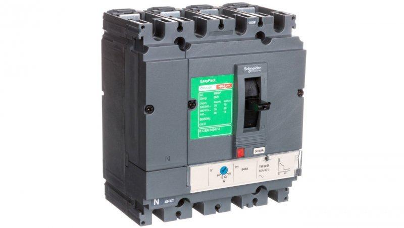 Wyłącznik mocy 80A 4P 36kA EasyPact CVS100 TM80D LV510356