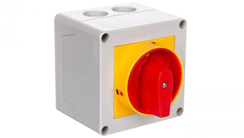 Łącznik krzywkowy 0-1 3P 16A do wbudowania  z pokrętłem żółto/czerwonym blokowany kłódką GX1610P25