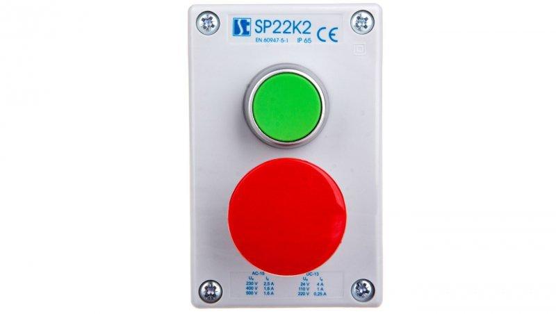 Kaseta sterownicza 2-otworowa zielony/przycisk grzybkowy czerwony 1Z 1R IP65 szara SP22K203-2