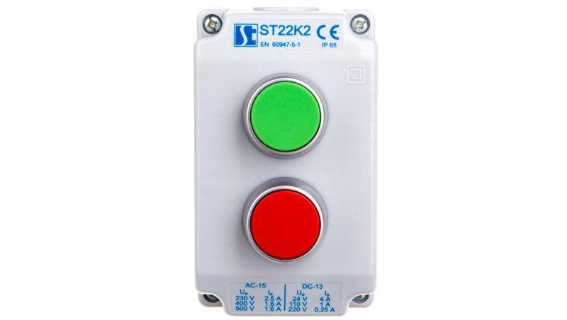 Kaseta sterownicza 2-otworowa zielony/czerwony 1Z 1R szara IP65 ST22K201-2