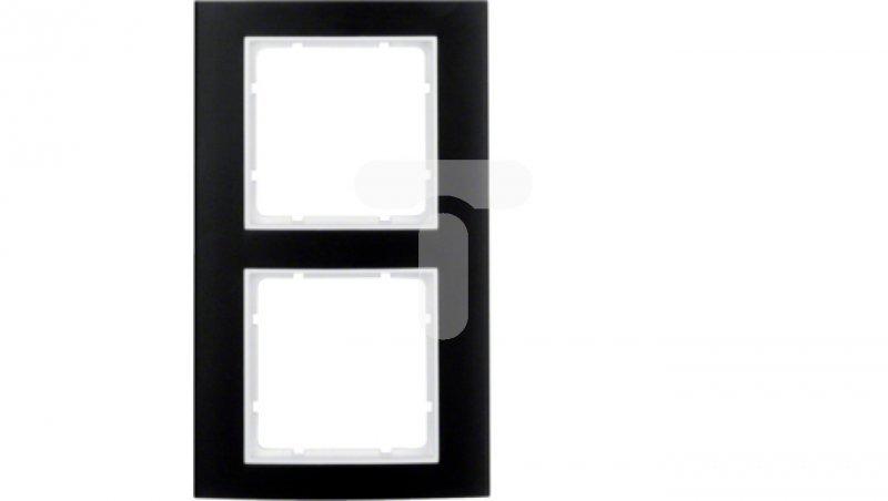 Berker B.3 Ramka podwójna aluminium czarny/biały 10123025