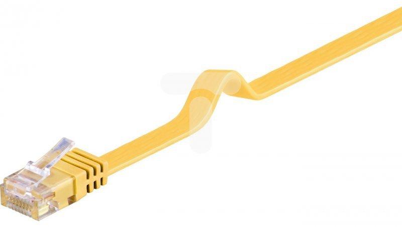 Kabel krosowy płaski patchcord U/UTP kat.6 żółty 1m 96402