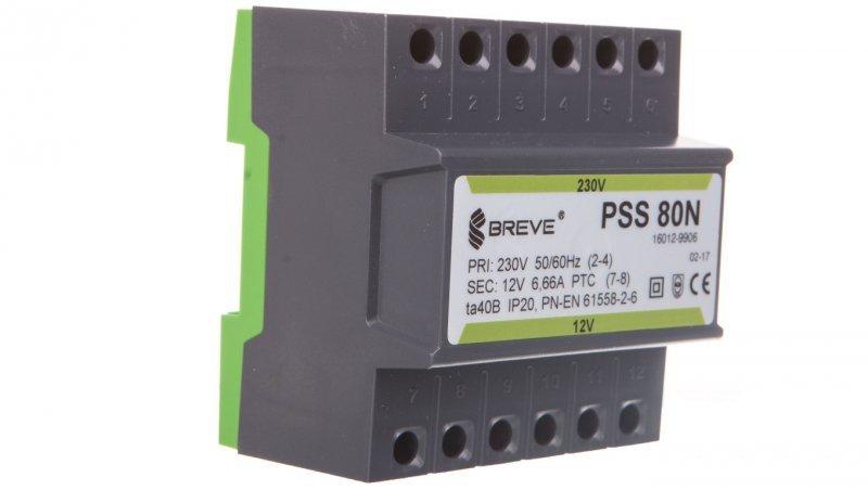 Transformator 1-fazowy PSS 80N 80VA 230/12V /na szynę/ 16012-9906