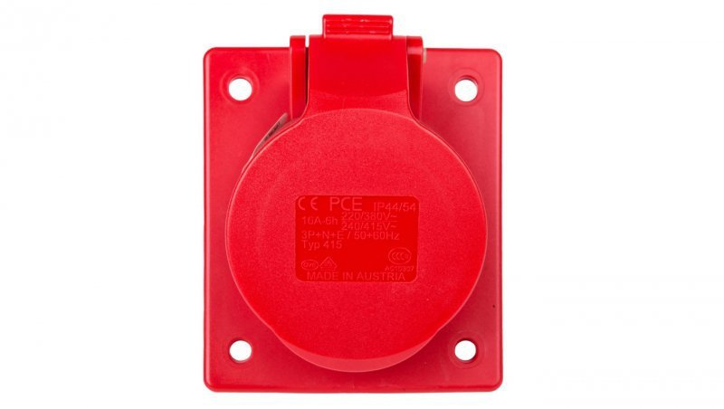 Gniazdo tablicowe skośne 16A 5P 400V /80x97/ czerwone IP44 TWIST 415-6