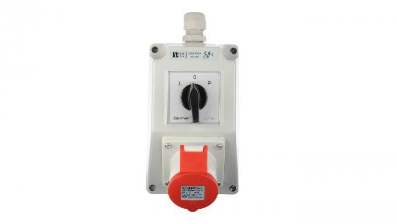 Zestaw instalacyjny z gniazdem 16A 4P (L-0-P) czerwony ZI02R121