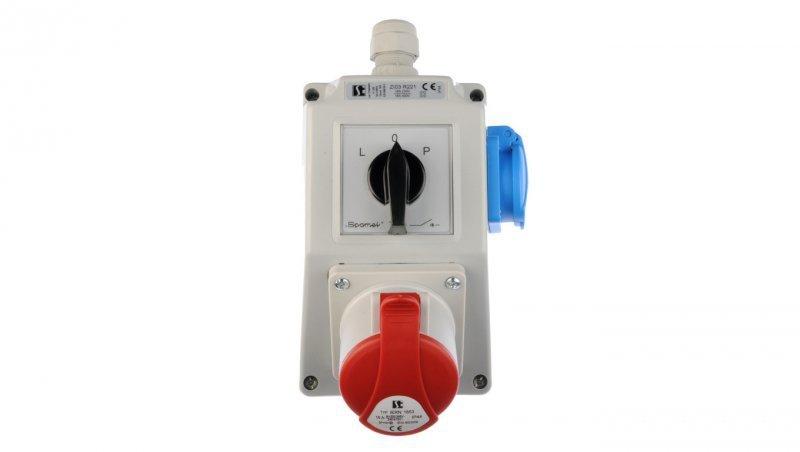 Zestaw instalacyjny z gniazdem 16A 5P+2P+Z (L-0-P) czerwony ZI03R221