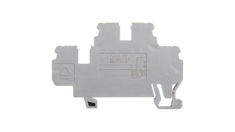 Złączka szynowa 2-piętrowa 2,5mm2 L/L szara 870-501