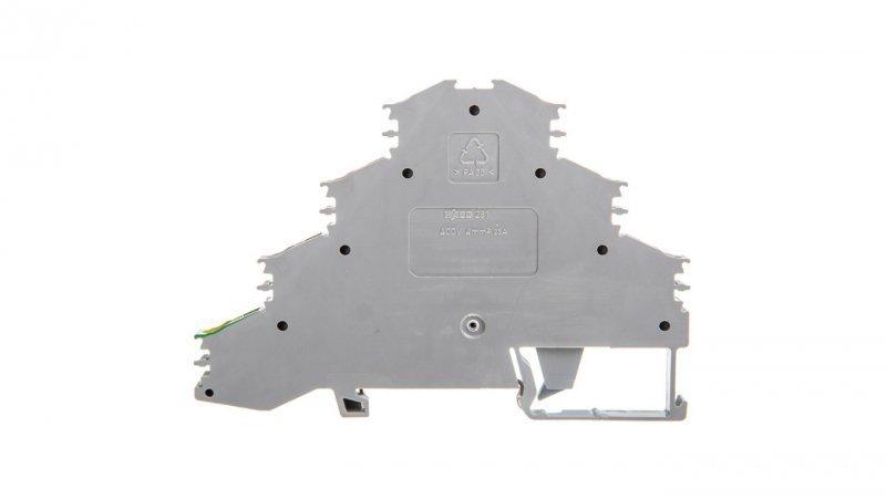 Złączka szynowa 4-piętrowa 4mm2 L1 L2 L3 PE szara 281-530