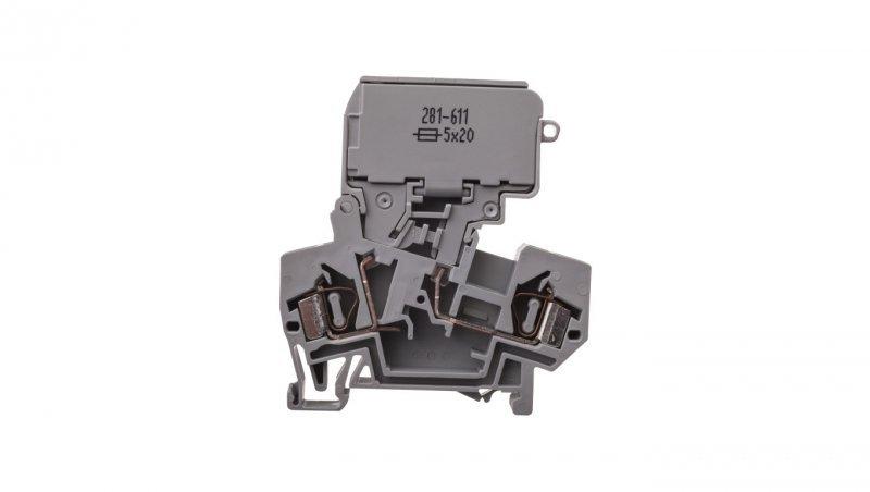 Złączka bezpiecznikowa 4mm2 szary 10A G 5x 20mm 281-611
