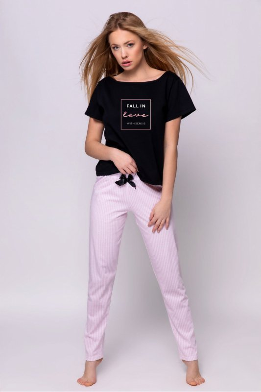Piżama Damska Model Billie Black/Pink - Sensis