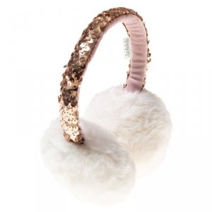 Brokatowe nauszniki w kolorze białym z futerkiem
