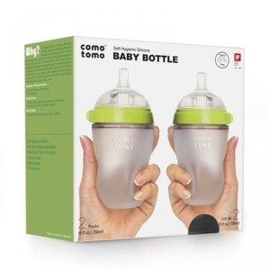 COMOTOMO - 2 antykolkowe butelki silikonowe MOM'S BREAST 250 ml Green BABY 2 pack Wiek: 0.3+