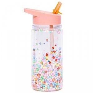 Bidon transparentny ze składanym ustnikiem dla dziewczynki MACARON POPS Soft Coral - Petit Monkey