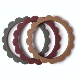 3 gryzaki silikonowe bransoletki dla dziecka FLOWER Dried Thyme & Berry & Natural - Mushie