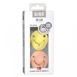 Smoczek uspokajający silikonowy dla dziecka BIBS DE LUX ONE SIZE 2- PACK SUNSHINE & PEACH SUNSET