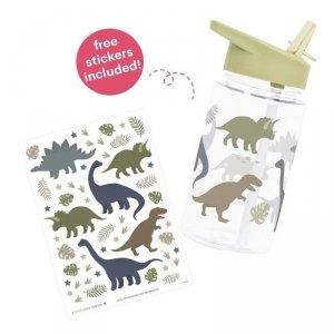 Bidon transparentny dla chłopca ze składanym ustnikiem Dinozaury z naklejkami - A Little Lovely Company