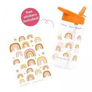 Bidon transparentny dla dziewczynki ze składanym ustnikiem Tęcza z naklejkami - A Little Lovely Company