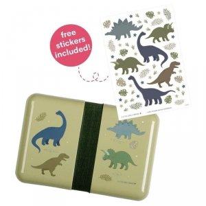 Śniadaniówka Lunchbox dla chłopca Dinozaury z naklejkami - A Little Lovely Company