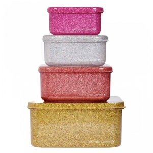 Lśniące Lunchboxy śniadaniówki GOLD BLUSH - A Little Lovely Company - 4szt.