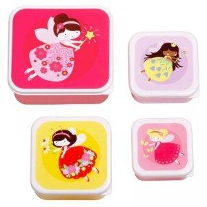 Lśniące Lunchboxy śniadaniówki WRÓŻKI - A Little Lovely Company - 4szt.