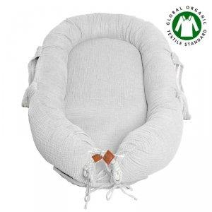Hi Little One - Kokon gniazdko dla Noworodka z oddychającego muślinu NEWBORN NEST WHITE