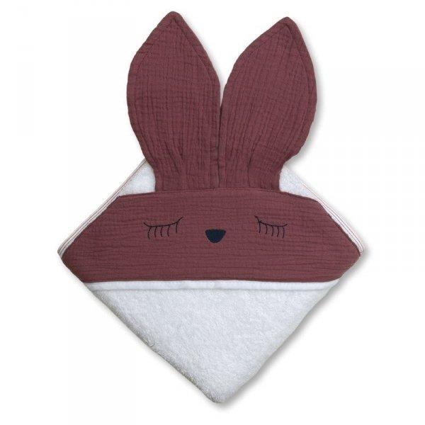 Ręcznik z kapturkiem dla niemowlaka śpiący króliczek w kolorze lawendowym 100/100