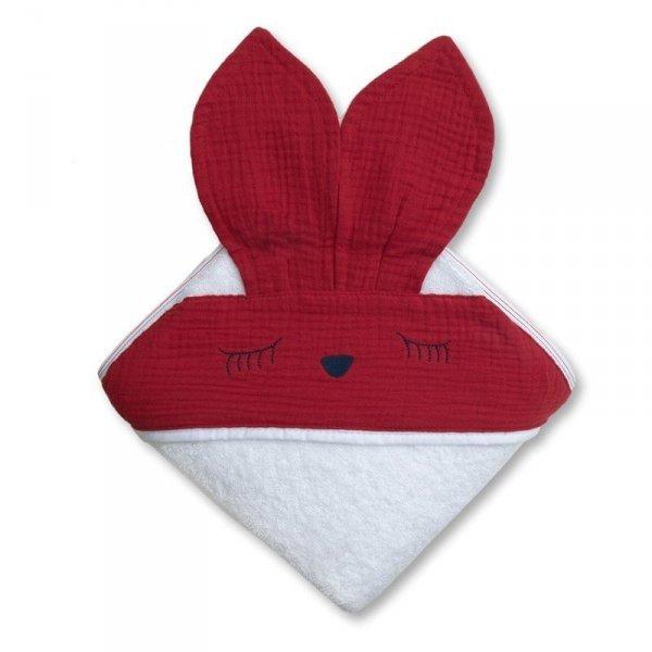 Hi Little One - Ręcznik z kapturkiem 100 x 100 SLEEPY BUNNY hooded bath towel Strawberry
