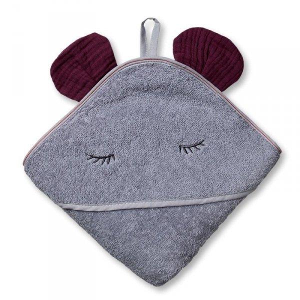 Ręcznik z kapturkiem 100 x 100 - Bordowa Myszka