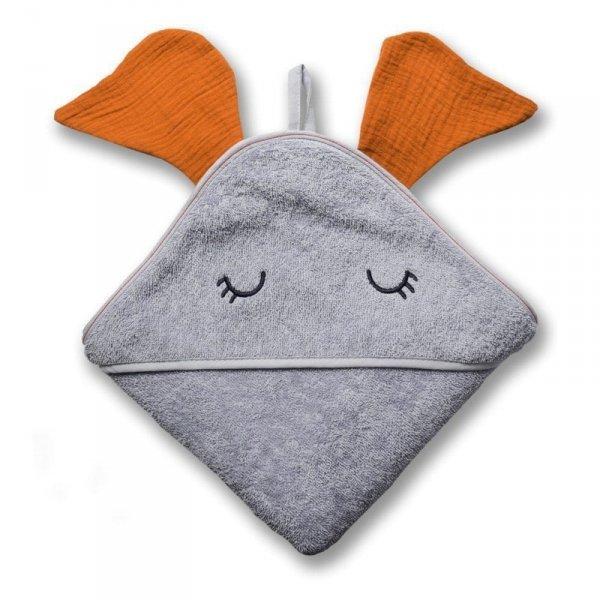 Ręcznik z kapturkiem 100 x 100 - Słonik z uszkami w kolorze pomarańczowym