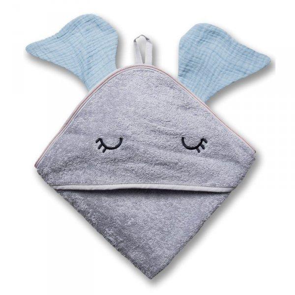 Hi Little One - Ręcznik z kapturem 100 x 100 ELEPHANT hooded bath towel Baby blue