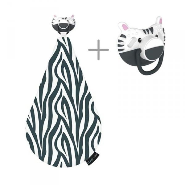 3 w 1 smoczek z gryzakiem + kocyk przytulanka -  Zebra ZsaZsa